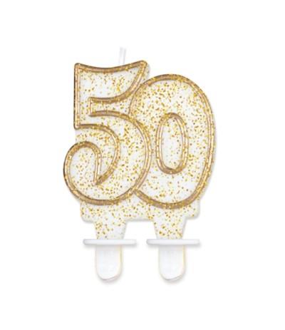 G.Świeczka cyferka złoty kontur 50