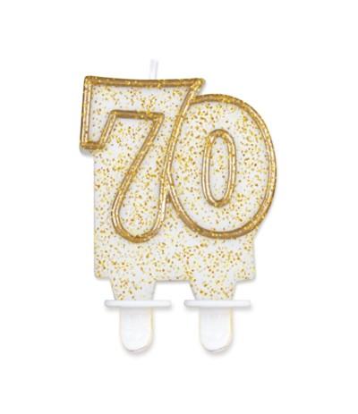 G.Świeczka cyferka złoty kontur 70