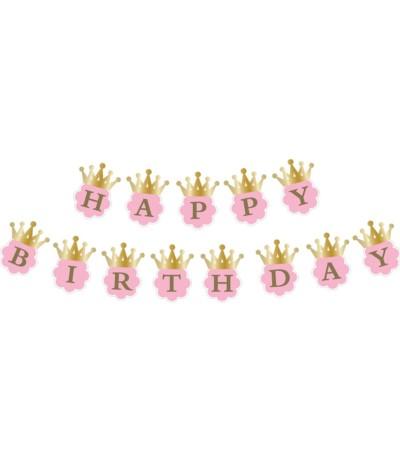 G.Girlanda urodzinowa Złota korona 180cm róż