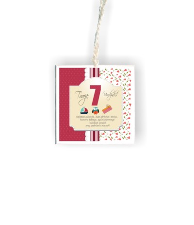 """D.Tabliczka kwadrat """"7 urodzinki róż"""