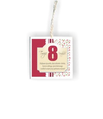 """D.Tabliczka kwadrat """" 8 urodzinki róż"""