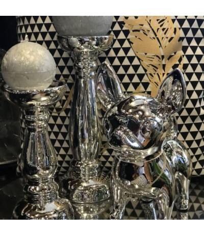 R.Świecznik ceramiczny srebrny