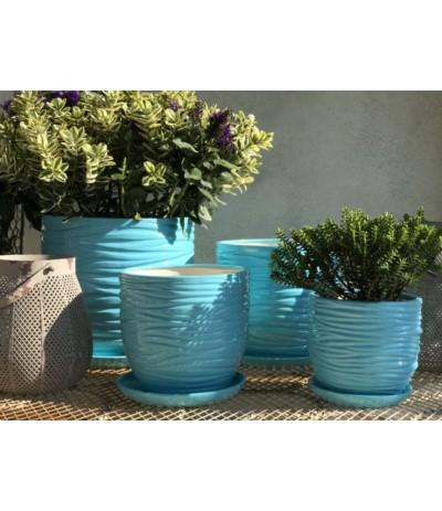 Osłonka ceramiczna Ewa z podstawką niebieska