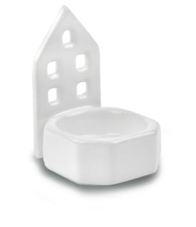 P.Świecznik ceramiczny domek biały