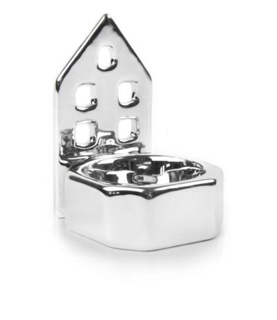 P.Świecznik ceramiczny domek srebrny