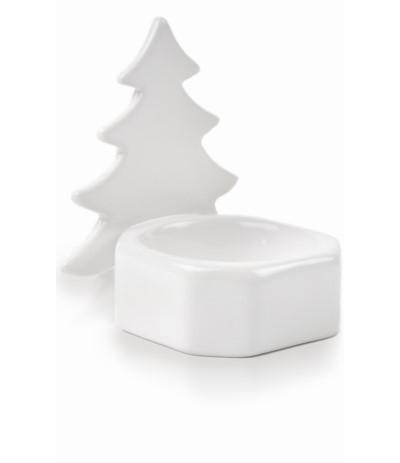 P.Świecznik ceramiczny choinka biała