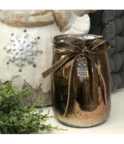 Lampion szklany z sówką B.N.