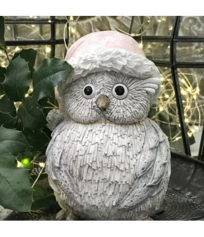 Figurka sowa w różowej czapeczce