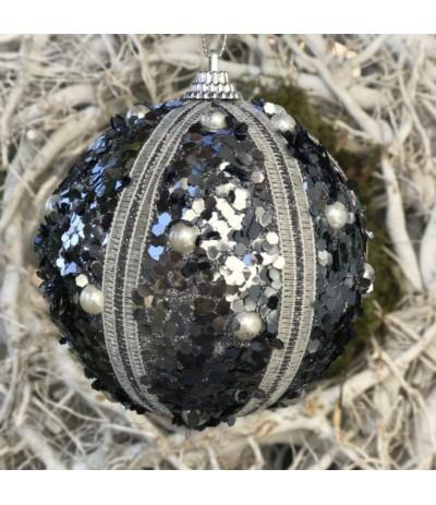 AM Bombka czarno-srebrna 10cm