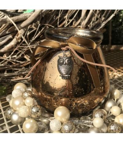 Lampion szklany z sówką